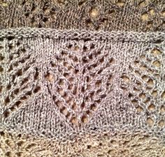 """From Sharon Miller's comprehensive """"Heirloom Knitting"""" book.  The whole chart is Spiders and Large Webs; this is just the webs part.  Knitted on a stockinette ground rather than garter; alternating lace rows with resting rows to understand the structure of the lace."""