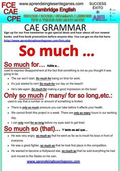 "In English , there are quite a few phrases containing ""so much, and they are used a lot by native speakers. Have a look at the sheet below to learn some of these phrases and take your English to the next level. FCE, CAE, CPE Key word transformation"