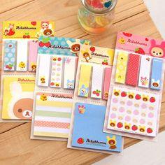 24 set korean Stationery Kawaii stickers Rilakkuma Memo Pad mini message post notebook/Writing Pads 8 set /1 lot School Supplies