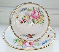Vintage PARAGON China Tea Cup and Saucer Duo Cabinet Set Green, Gold, Pink Roses