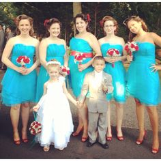 50s style wedding ! lil pin up girls :) love the colors... Maybe add some black