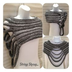 Multi-Way String Shrug Hand knitted in a beautiful chunky wool/acrylic mix yarn, Colour - grey mix Size - small/medium Machine washable. Made in the Scottish Borders. Specially created for the woman who loves individual Style Knitting String Shrug . Hand Knitting, Knitting Patterns, Crochet Patterns, Finger Knitting, Scarf Patterns, Knitting Tutorials, Crochet Clothes, Diy Clothes, Crochet Capas