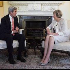 UK PM Theresa May meets US Secretary of State John Kerry