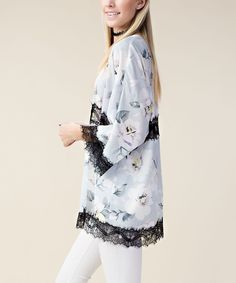 Baby Blue Floral Chiffon Lace Open Cardigan