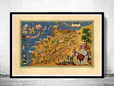 Old Map of  Morocco Le Maroc  Vintage Map by OldCityPrints on Etsy-- for the Opium Den!