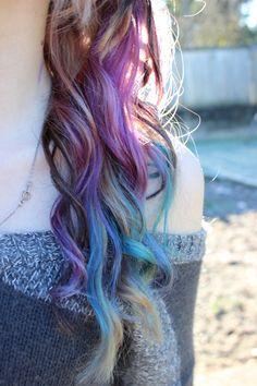 purple, teal and blonde hair, colorful hair, rainbow hair, scene hair