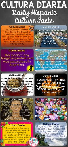 Cultura Diaria - with a Hispanic culture fact for each day of the school year, Cultura Diaria makes a great warmup or class starter and is an effective way to add more culture to your Spanish class!  https://www.teacherspayteachers.com/Product/Cultura-Diaria-Daily-Hispanic-Culture-Facts-for-Each-Day-of-Spanish-Class-828728