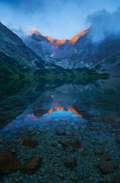 Evening at Dark Spruces lake, High Tatras national park, Slovakia.Flowing clouds were creating outstanding theatre, changing every second. High Tatras, Glacier Lake, Heart Of Europe, Poland, Reflection, Cool Photos, National Parks, Earth, Clouds