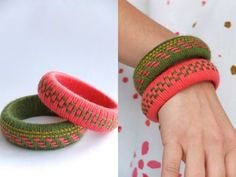 Dress up some bangles with some wrapping and stitching.