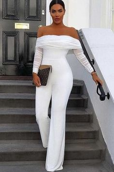 White Off Shoulder Mesh Splicing Long Sleeve Casual Jumpsuit Woman Jumpsuits ski jump accident woman with green jumpsuit All White Party Outfits, White Outfits For Women, All White Outfit, Classy Outfits, Chic Outfits, Fashion Outfits, Clothes For Women, White Women, Gothic Fashion