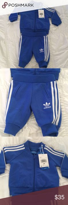 Adidas track suit Brand new ADIDAS track suit! This is a size 3 months and has never been worn ! Baby Braylon grew a little too fast and never got the chance to wear it 😐. This cute outfit would be an adorable Christmas gift or addition in your sons wardrobe! These sold out super fast for babies, get while it's still here !!! adidas Other