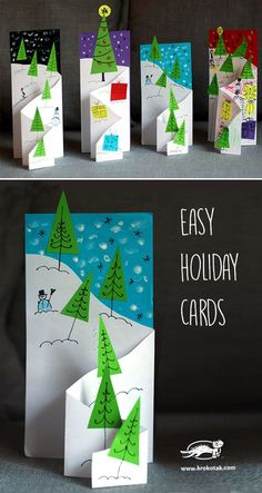 Easy holiday cards from krokotak christmas art, christmas crafts for kids, homemade christmas, Christmas Activities, Christmas Crafts For Kids, Homemade Christmas, Christmas Projects, Holiday Crafts, Diy Holiday Cards, Cards Diy, Christmas Card Ideas With Kids, Kindergarten Christmas