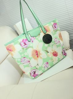#Women's  #Tote Bags ,Hot Summer Seaside Fashion Flowers Pattern Lady's Large Tote(2colors).