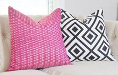 Raspberry Pink Ikat Pillow - Modern Geometric Pink & Gray Pillow Cover - Throw Pillow - Designer Pillow - Fuchsia Ikat Pillow - Pink Decor by MotifPillows on Etsy https://www.etsy.com/listing/240733415/raspberry-pink-ikat-pillow-modern