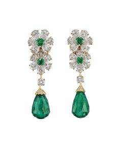 A pair of 1990s Van Cleef & Arpels emerald drop and diamond ear pendants are another highlight of Christie's Important Jewels sale in London on 26 November 2014 (estimate: £60,000-£80,000).