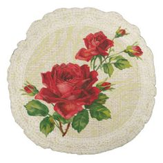 Red roses & lace floral vintage pillow round pillow