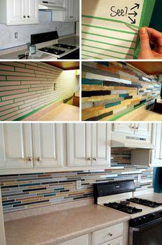 PAINT your backsplash to look like custom tile! {Sawdust and Embryos}