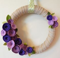 Summer Door Wreath-Wool Felt Flowers by TheBeautifulDoor on Etsy