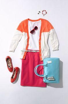 Summer Work Style: Hues of Pink, Orange, & Light Blue