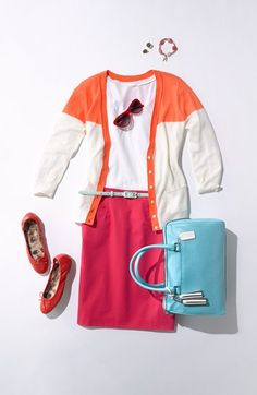 Summer Work Style: Hues of Pink, Orange, & Light Blue