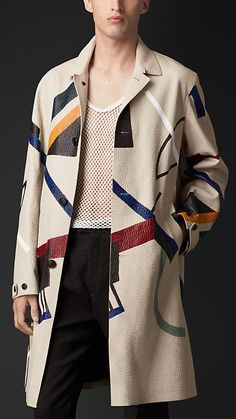 ~ Living a Beautiful Life ~ Burberry Prorsum Hand-Painted Leather Caban Revival Clothing, Burberry Jacket, Burberry Trench, Burberry Prorsum, Painting Leather, Jacket Style, Look Cool, Menswear, Men's Clothing