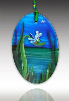 Dragonfly Pond Ornament by Amalia Flaisher | Sand & Water Creations in Glass at aRT on Glass Studio