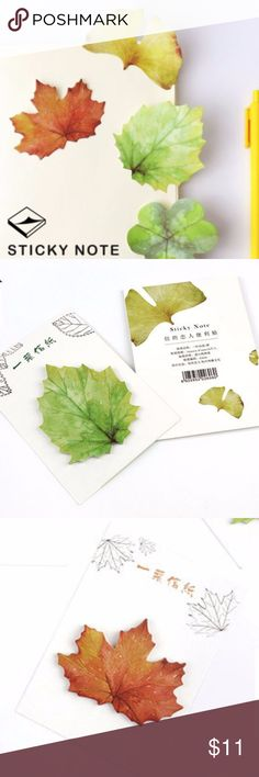 2 NEW Leaf Sticky Note/Post Its ❤️ Two (2) Beautiful Sticky Note/Post It/Memo Pads featuring: a green leaf & maple leaf ❤️ Tagged for exposure. Feel free to make an offer or ask questions. ❤️ Bundle 2 items from my store for 10% off and free shipping for all items after the first!  Keywords: stationery, school supplies, planner, stickers, paper, Japan, Japanese, watercolor, scenic, mountains, nature, natural, cute, kawaii, anime Urban Outfitters Other