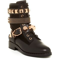 Ivy Kirzhner Bowery Genuine Calf Hair Studded Boot featuring polyvore, women's fashion, shoes, boots, ankle boots, black, black boots, black studded boots, studded ankle boots, lace up platform bootie and black ankle boots