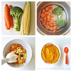 """Carrot, Corn & broccoli purée [6m+] I'd serve this to my baby at 6 months. You probably have these ingredients at home, make a lot, add a little meat if…"""