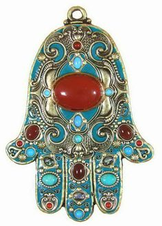 Teal And Red Hamsa Plaque eye in hand - against evil (hand of Fatima )Hamsa Symbol  More Pins Like This At FOSTERGINGER @ Pinterest