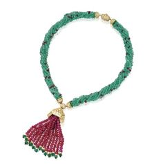Emerald and Ruby Bead Tassel Necklace