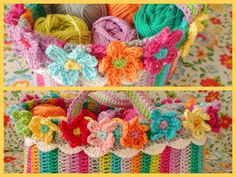 Hooks and more: Crocheted purse with flowers ...... with pattern description.
