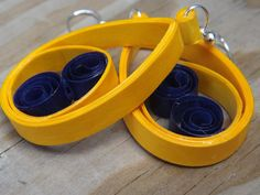 Blue and Yellow Swirl Earrings ♥ by QuillingMaven on Etsy