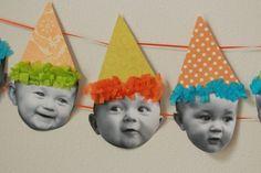 Foto's van de kls hun hoofdje, wanneer ze jarig geweest zijn, krijgen ze een feesthoedje op.