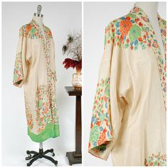 Vintage 1920s Robe - Summer 2017 Lookbook - Paringoa Pongee Robe - Iconic Art Deco Pongee Floral Print Silk 20s Wrap Lounge Robe