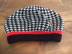 Vintage Houndstooth Women's Knit Beanie Hat by jessamyjay on Etsy