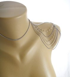Bead and silver Shoulder Necklace Jewelry by IndependentAccents, $52.00