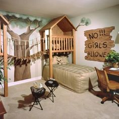 "CJ Foxcroft found this fun room on DigsDigs. The bed hides under the treehouse and there's a little play grill for campouts. The ""No Girls Allowed"" sign evokes The Little Rascals, and makes this a cute boys-only hideout.  Visit our Dream Kids Rooms Pinterest Board to see the rest of our dream room picks, including some unique nurseries!  Photo Source: DigsDigs"