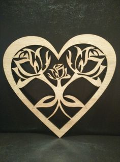 Valentine s day Heart with Rose Laser Cut (18x20cm)