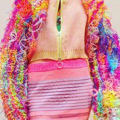 Jessica Deacon: Plastic knitted jacket, chunky zip up knit top, striped monofilament ruffle skirt #scooby #rainbow #neon #plastic #knit #knitting #fashion #knitwear #ruffleskirt #frillseekers #frills #pastels #structuredknit