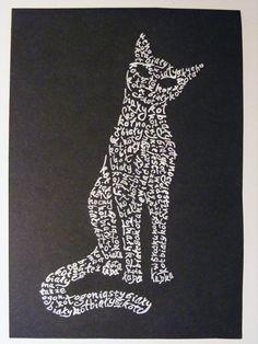 calligram white cat by absurdynka.deviantart.com on @deviantART