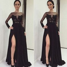 Sexy black long sleeves chiffon prom dress with side slit