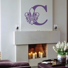 Shop our large selection of original fleur de lis wall decals. Great for interior walls, metal, plastic, wood, and glass. Fleur de lis car decals also available. Monogram Wall Decals, Initial Wall, Simply Said Designs, Mural Floral, Deco Stickers, Blue Abstract, Painting Abstract, Abstract Landscape, Wall Patterns