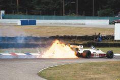 Derek Warwick's Arrows catches fire at Hockenheim in 1987.