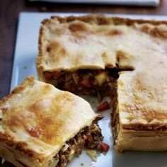 Meat And Potato Pie With Plain Flour, Salt, Butter, Lard, Water, Milk, Onions, Carrots, Minced Beef, Tomato Ketchup, Worcestershire Sauce, Marmite, Plain Flour, Salt, Ground Black Pepper, Baking Potatoes