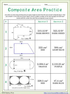 math worksheet : finding the area of composite figures  students math and school : Composite Area Worksheet