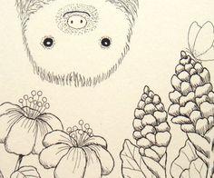 Print of Original Ink Drawing Cute Sloth Animal Illustration Black & White Ivory 4x6 Home Wall Decor. $7.99, via Etsy.