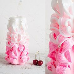 Big White and Pink  Gentle colors  Decorative carved candle  EveCandles >>> You can get additional details at the image link.
