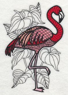 Flamingo with Anthurium (Blackwork) design (M3161) from www.Emblibrary.com