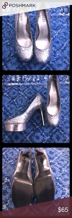 Silver sparkly heels Silver sparkly heels by Guess in size 7.5. In great condition only worn a few times. Guess Shoes Heels